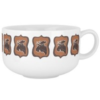 Moose with Vintage Border Pattern Soup Mug