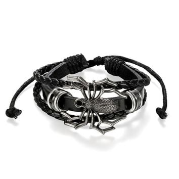 SHIPS FROM USA Spider Bracelet Leather Braided Charm Handcuff Women Men Bangles Handmade Stuff Bracelet Jewelry Accessories For Men