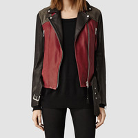 Womens Frith Leather Biker Jacket (Rust/Black/Anthrct) | ALLSAINTS.com