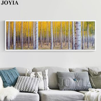 Large White Birch Painting Tree Forest Picture Trees Wall Art Canvas For Modern Bedroom Living Room Wall Decoration No Frame