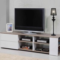Cesar collection white and beech finish wood TV stand with drawers