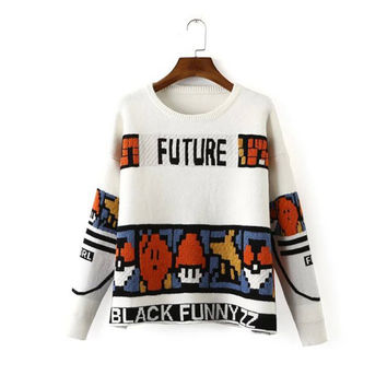 Korean Knit Tops Winter Long Sleeve Pullover Ladies Sweater Jacket [8422522881]