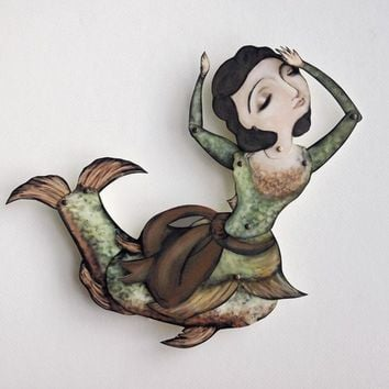 Lady Fish Paper Puppet Mermaid by crankbunny on Etsy