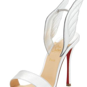 NEW Christian Louboutin 'samotresse' 100 Wing Silver Sandals Shoes Sz 39