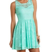 Mint Geometric Lace Skater Dress by Charlotte Russe