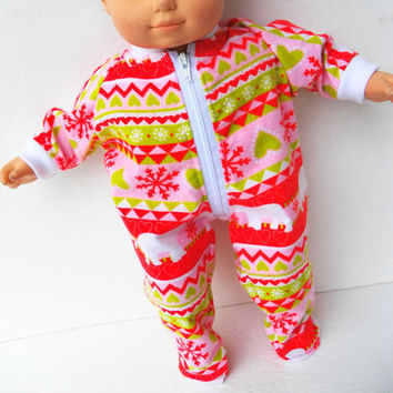 "American Girl Bitty Baby Clothes 15"" Doll Clothes Pink Red Green Scandinavian Print Polar Bear Snowflake Zip Up Flannel Pajamas Sleeper Pjs"