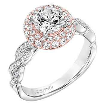 "Artcarved ""Anja"" Rose & White Gold Halo Pave Diamond Twist Engagement Ring"