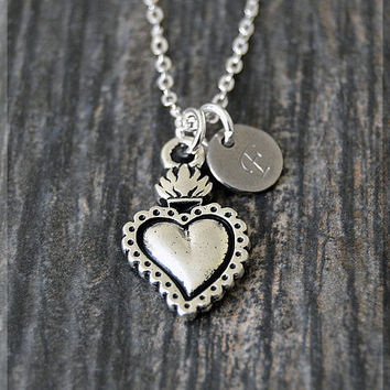 Silver Sacred Heart Charm Necklace, Initial Charm Necklace, Personalized, Heart Pendant, Holy Jewelry, Monogram Sacred Heart Necklace