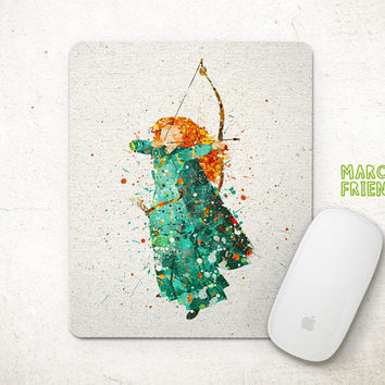 Disney Merida Mouse Pad, Brave Watercolor Art, Mousepad, Home Art, Gifts Idea, Art Print, Desk Decor, Princess Accessories
