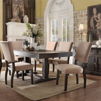 7 pc Eliana collection salvage brown distressed finish wood dining table set with nail head trim chairs