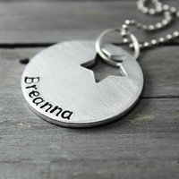 Name Necklace, Star Necklace, Star  Name, Personalized Necklace, Hand Stamped, Stamped Necklace, Personalized Jewelry,