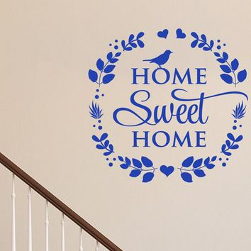 Home Sweet Home Bird Primitive Country wreath Leaves Vinyl Wall Decal