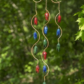 Triple Bell Spiral Multicolor Wind Chime - New Item!