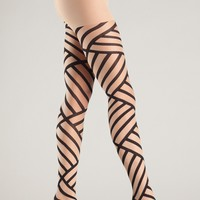 Diagonal Stripe Tights