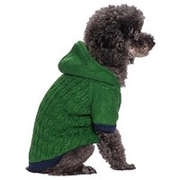 Blueberry Pet 16-Inch Back Length Twist Cable Knitted Fleece Hooded Pull Over Sweater for Dogs in Sea Green