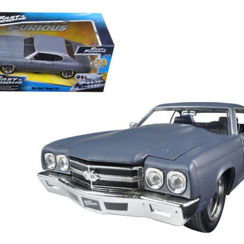 "Dom's Chevrolet Chevelle SS Matt Gray ""Fast & Furious"" Movie 1-24 Diecast Model Car by Jada"