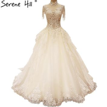 White High Neck Sexy Lace Wedding Dresses Crystal Pearls Luxury Bridal Gowns