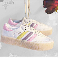 ADIDAS RIVALRY Clover Trending Flat Shoes Classic Sneakers White-pink purple line