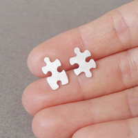 Sterling Silver Jigsaw Puzzle Pin/ Lapel Pin/ Tie Tack, Handmade In England | Luulla