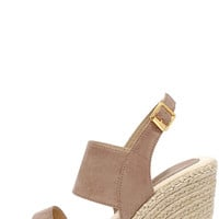 Cruising Along Taupe Suede Wedge Sandals