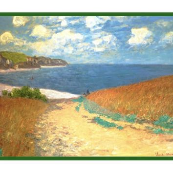Path Through the Corn at Pourville inspired by Claude Monet's impressionist painting Counted Cross Stitch or Counted Needlepoint Pattern