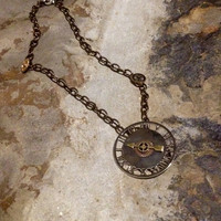 Steam punk clock necklace with gears