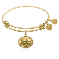 Expandable Bangle in Yellow Tone Brass with Dragonfly Life Changes Symbol