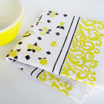 Vintage Kitchen Tea Towel Yellow Black White Startex Linen Teapot Coffee Pot Graphics