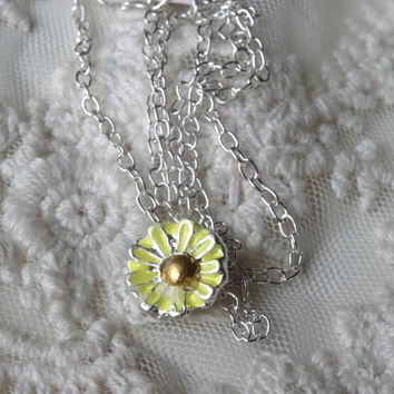1- Miniature Daisy Necklace Hand Painted Small Daisy Flower Bohemian Yellow Painted Flower Necklace Peculiar Collective Finished Jewelry