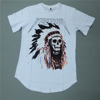 Cool Yeezus Tour Kanye West men short sleeve t shirt,hip hop Indian Headdress Skull tshirt tide brand yeezy T-shirt tee