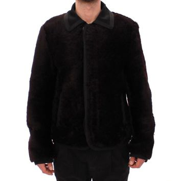 Dolce & Gabbana Runway Brown Shearling Leather Jacket Coat