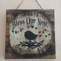 Rustic sign, rustic decor, bless our nest sign, canvas print, home decor, cottage chic ,rustic blessing sign, rustic wall art, canvas art