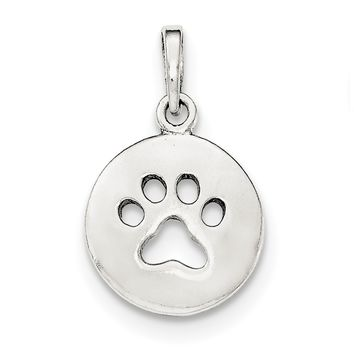 Sterling Silver Small Round Disc with Cut Out Paw Print Pendant