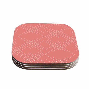 "Famenxt ""All A Blaze Abstract"" Coral Beige Illustration Coasters (Set of 4)"