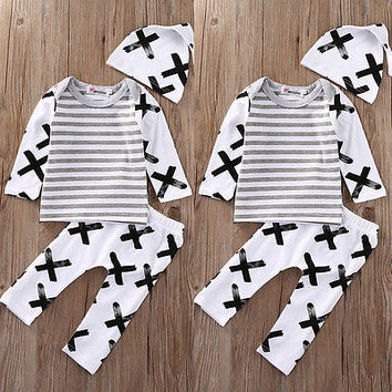 Autumn Spring Newborn Infant Baby Boy Girls Striped T-shirt Top+Pants Leggings Hat Clothes 3PCS Outfit Set