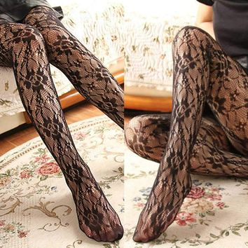Fashion Women Fishnet Ladies Black Mesh Lace Pattern Pantyhose Stockings Socks w