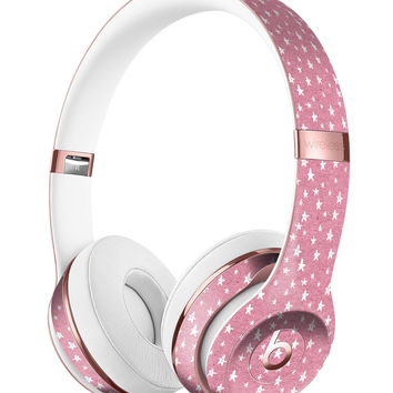 Micro White Stars Over Pink Full-Body Skin Kit for the Beats by Dre Solo 3 Wireless Headphones