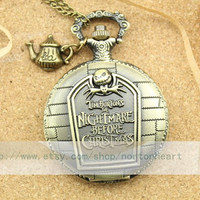 The Nightmare Before Christmas antique pocket watch necklace with mens jewellery