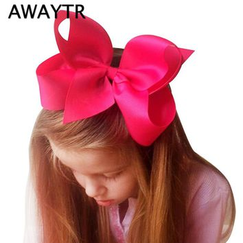 AWAYTR 6 Inch Big Bows for Girls Hair Solid Ribbon Bows With Clip Boutique Hair Clips Hairpin Women Hair Accessories