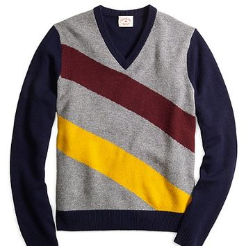 Diagonal Stripe V-Neck Sweater - Brooks Brothers