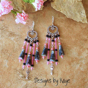 Bohemian Jewelry, Romantic Gypsy Boho Beaded Chandelier Earrings, Black and Pink, Original Handmade Bohemian Designs by Kaye Kraus