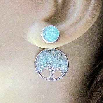 Front Back Earrings Reverse Earrings Aquamarine Tree Stud Earrings Birthstone Ear Jacket Tree of Life 2 in 1 Earrings Stained Glass Jewelry