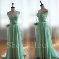 Mint Ruffled Sweetheart Strapless A-Line Long Bridesmaid Celebrity dress ,Court Train Chiffon Evening Party Prom Dress Homecoming Dress