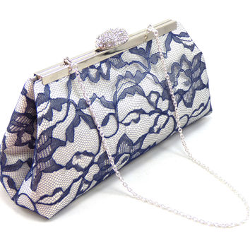 Ivory, Navy Blue and Silver Bridal Clutch