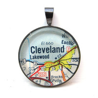 Road Map Pendant of Cleveland Ohio from by CarpeDiemHandmade