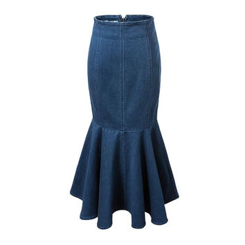 Vintage Denim Packet Buttock Back Zipper Fishtail Maxi Skirt