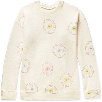 The Elder Statesman - Oversized Printed Felted Cashmere-Blend Sweatshirt