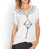 FOREVER 21 Embroidered Peasant Top Cream/Black