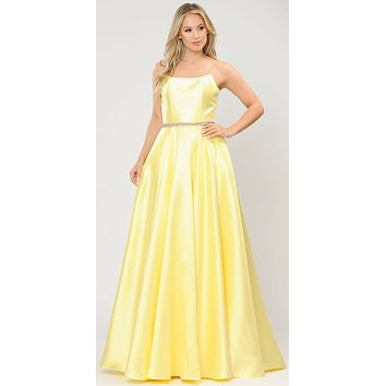 Yellow Long Prom Dress with Criss-Cross Lace-Up Back