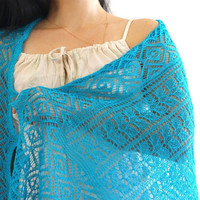 Knit shawl, laced scarf in turquoise color, gift for her